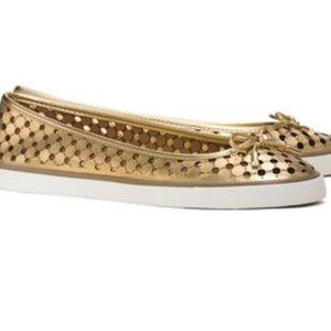 Tory Burch Skyler Metallic Perforated Sneaker Flat